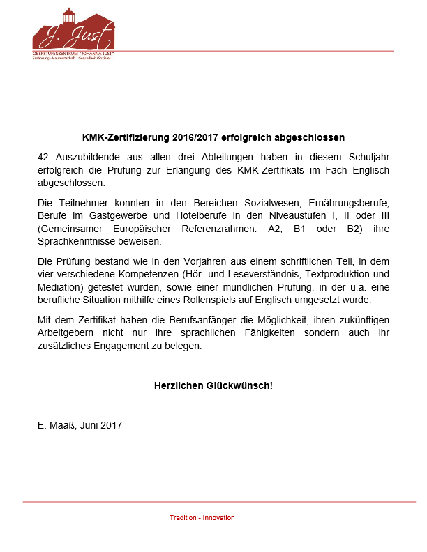 KMK-Zertifizierung 2016/2017 erfolgreich abgeschlossen