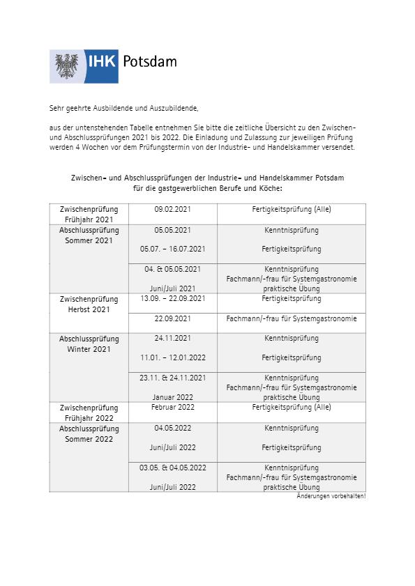 Prüfungstermine der IHK Potsdam