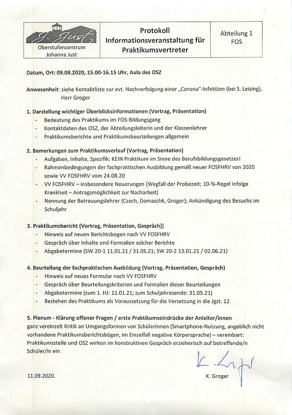 Informationen für Praktikumsstätten