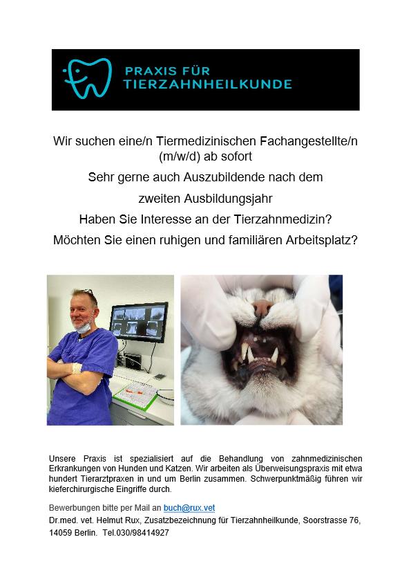 Tiermedizinischen Fachangeste/n (m/w/d) ab sofort