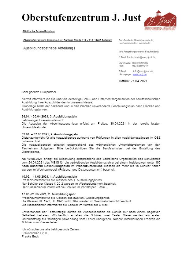 Information zur Beschulung ab 03.05.2021