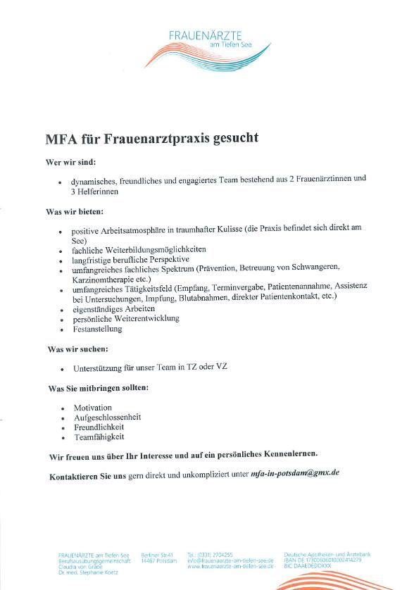 MFA für Gynäkologie gesucht